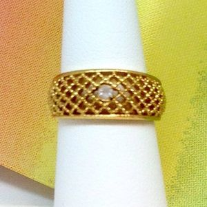 Avon Vintage Lattice Lace Ring Clear Rhinestone